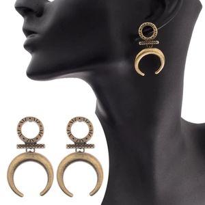 ☯️ crescent moon tribal studded goddess earrings